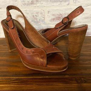 Seychelles Brown Leather Slingback Peep Toe heels